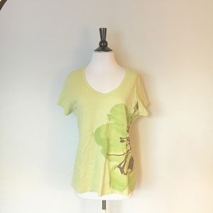 ST. JOHN'S BAY Flowered Green T-shirt Size L